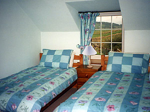 twin bedroom in cottage with snowdonia mountain views